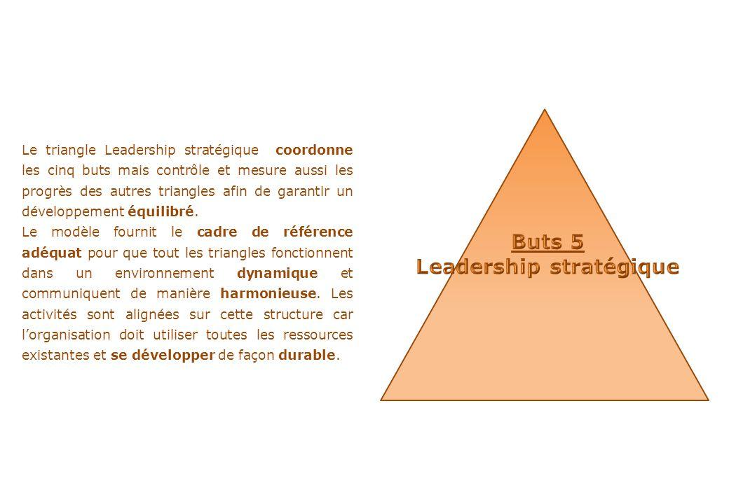 Le triangle Leadership stratégique coordonne les cinq buts mais contrôle et mesure aussi les progrès des autres triangles afin de garantir un développ