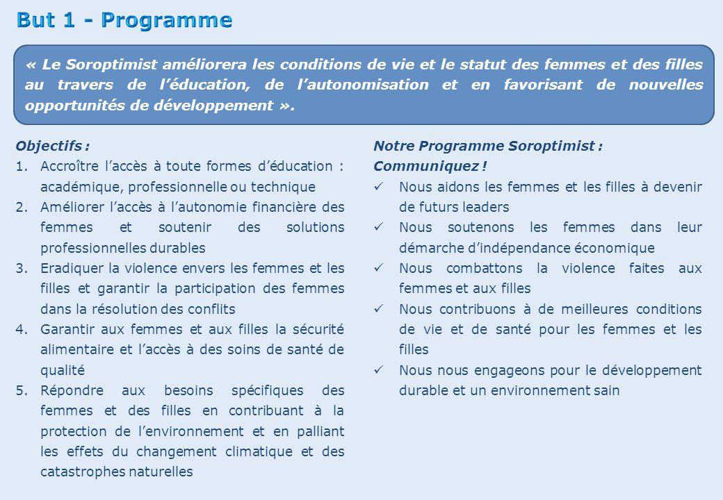 Objectifs : 1.Accroître l'accès à toute formes d'éducation : académique, professionnelle ou technique 2.Améliorer l'accès à l'autonomie financière des