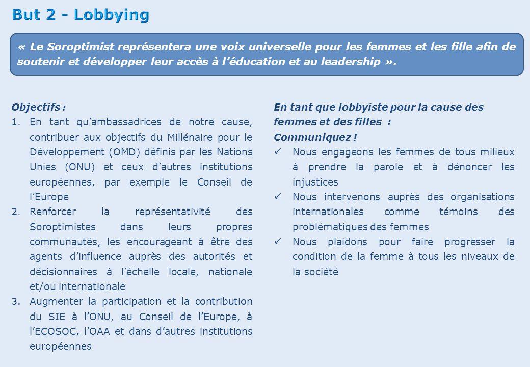 Objectifs : 1.En tant qu'ambassadrices de notre cause, contribuer aux objectifs du Millénaire pour le Développement (OMD) définis par les Nations Unie