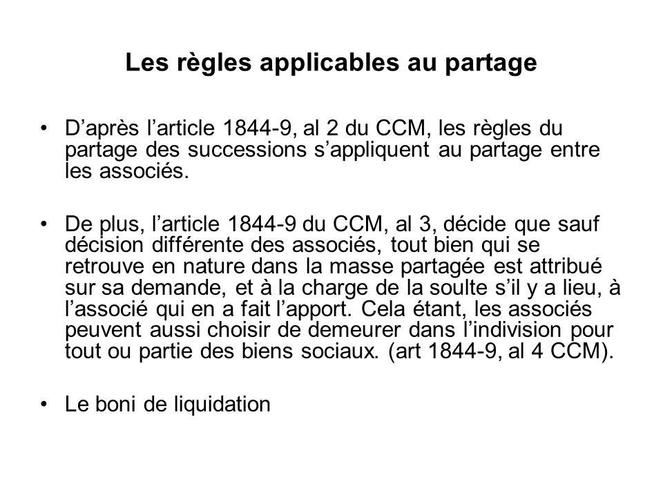 Les règles applicables au partage D'après l'article 1844-9, al 2 du CCM, les règles du partage des successions s'appliquent au partage entre les assoc