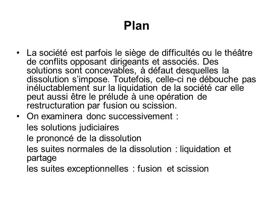 Plan La société est parfois le siège de difficultés ou le théâtre de conflits opposant dirigeants et associés. Des solutions sont concevables, à défau