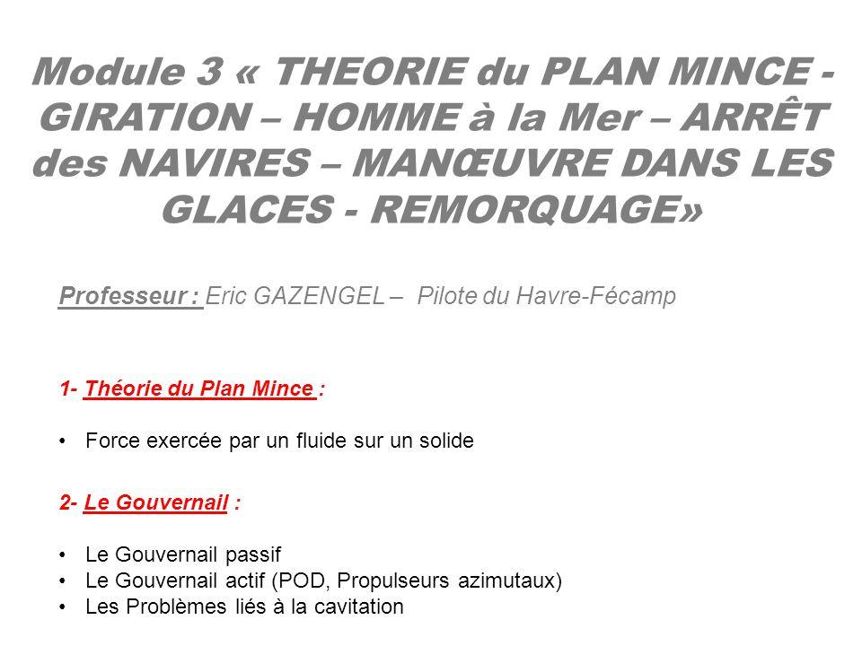 Module 3 « THEORIE du PLAN MINCE - GIRATION – HOMME à la Mer – ARRÊT des NAVIRES – MANŒUVRE DANS LES GLACES - REMORQUAGE» Professeur : Eric GAZENGEL –