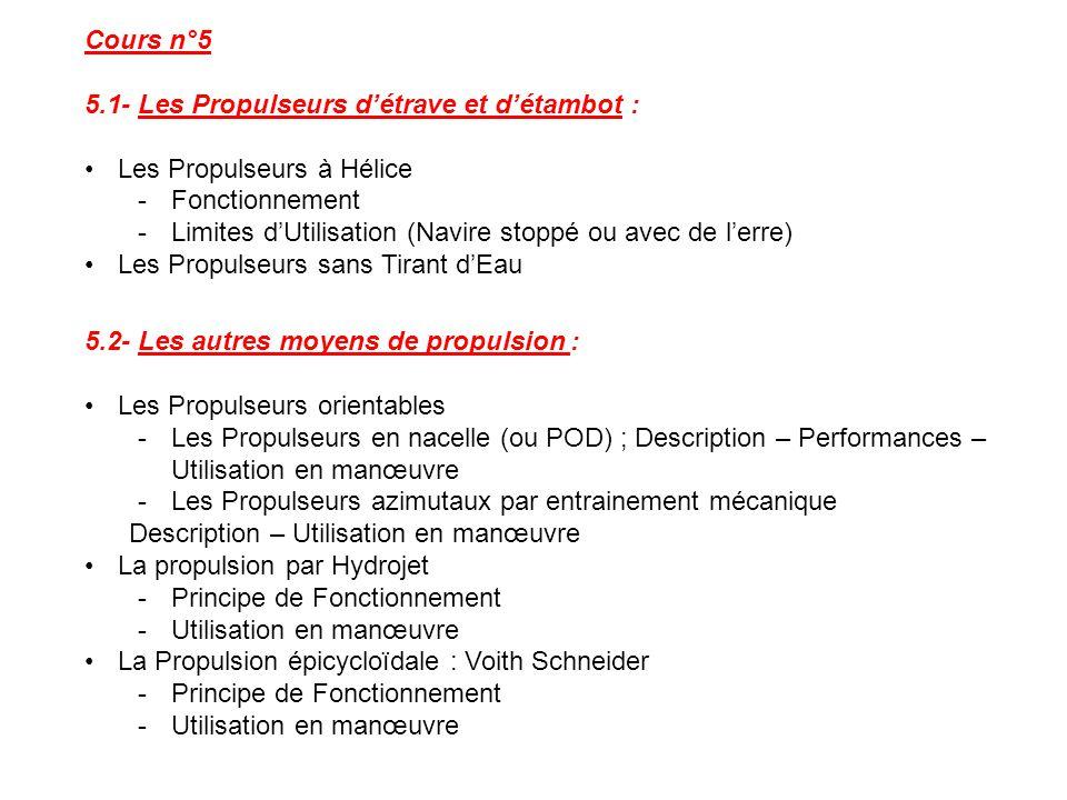 Cours n°5 5.1- Les Propulseurs d'étrave et d'étambot : Les Propulseurs à Hélice -Fonctionnement -Limites d'Utilisation (Navire stoppé ou avec de l'err