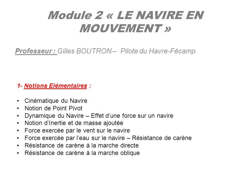 Module 2 « LE NAVIRE EN MOUVEMENT » Professeur : Gilles BOUTRON – Pilote du Havre-Fécamp 1- Notions Elémentaires : Cinématique du Navire Notion de Poi