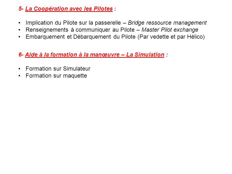 5- La Coopération avec les Pilotes : Implication du Pilote sur la passerelle – Bridge ressource management Renseignements à communiquer au Pilote – Ma