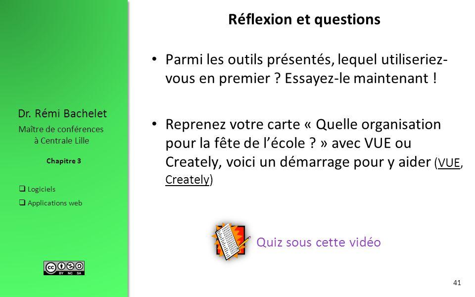 Chapitre 3 Dr. Rémi Bachelet Maître de conférences à Centrale Lille  Logiciels  Applications web Réflexion et questions Parmi les outils présentés,