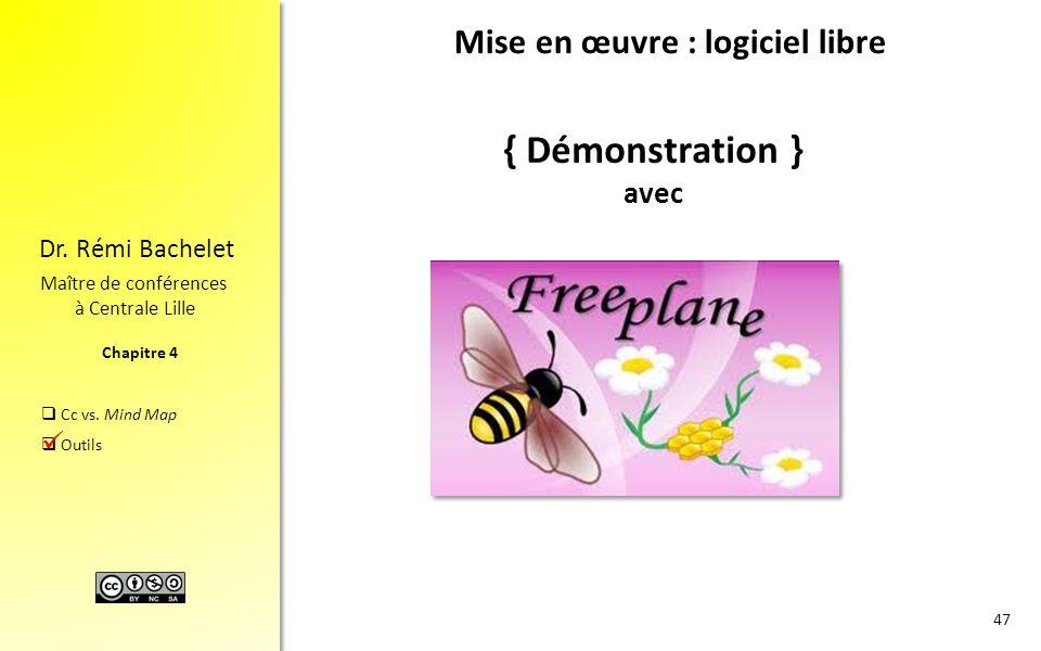 Chapitre 4 Dr. Rémi Bachelet Maître de conférences à Centrale Lille  Cc vs. Mind Map  Outils { Démonstration } avec. 47 Mise en œuvre : logiciel lib