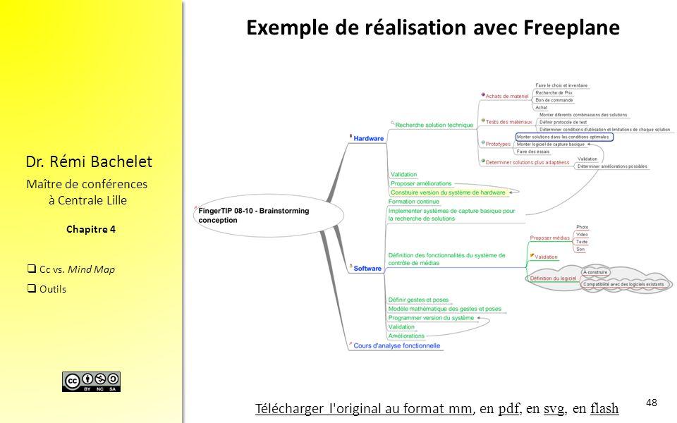 Chapitre 4 Dr. Rémi Bachelet Maître de conférences à Centrale Lille  Cc vs. Mind Map  Outils Exemple de réalisation avec Freeplane 48 Télécharger l'