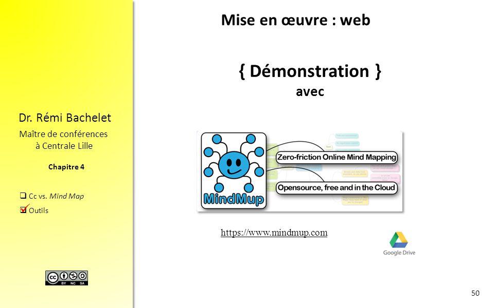 Chapitre 4 Dr. Rémi Bachelet Maître de conférences à Centrale Lille  Cc vs. Mind Map  Outils { Démonstration } avec 50. Mise en œuvre : web https://