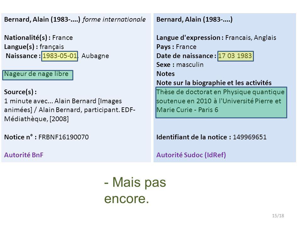 Bernard, Alain (1983-....) forme internationale Nationalité(s) : France Langue(s) : français Naissance : 1983-05-01, Aubagne Nageur de nage libre Source(s) : 1 minute avec...