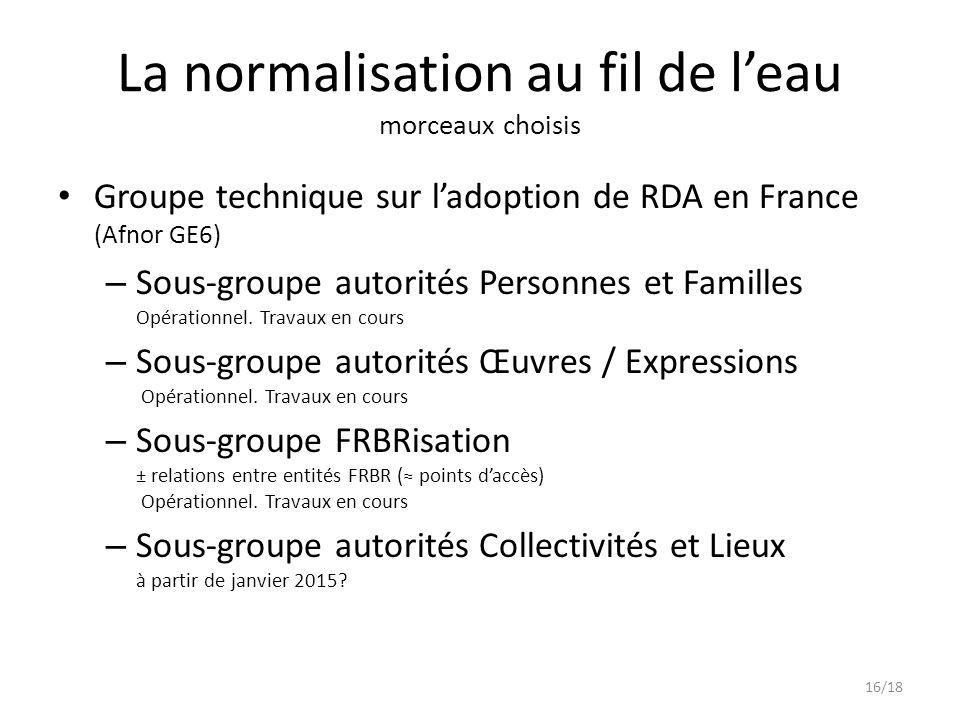 Groupe technique sur l'adoption de RDA en France (Afnor GE6) – Sous-groupe autorités Personnes et Familles Opérationnel.
