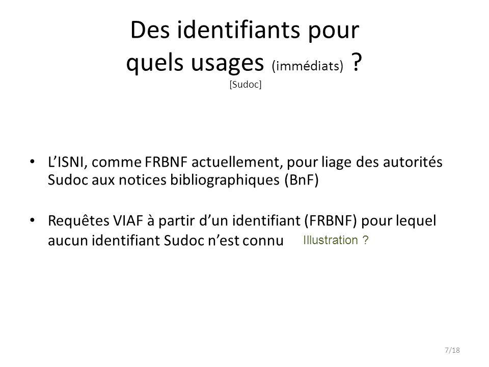 L'ISNI, comme FRBNF actuellement, pour liage des autorités Sudoc aux notices bibliographiques (BnF) Requêtes VIAF à partir d'un identifiant (FRBNF) pour lequel aucun identifiant Sudoc n'est connu Des identifiants pour quels usages (immédiats) .