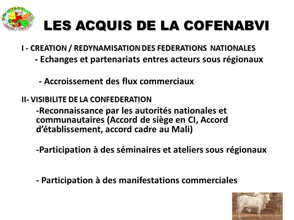 LES ACQUIS DE LA COFENABVI I - CREATION / REDYNAMISATION DES FEDERATIONS NATIONALES - - Echanges et partenariats entres acteurs sous régionaux - Accro