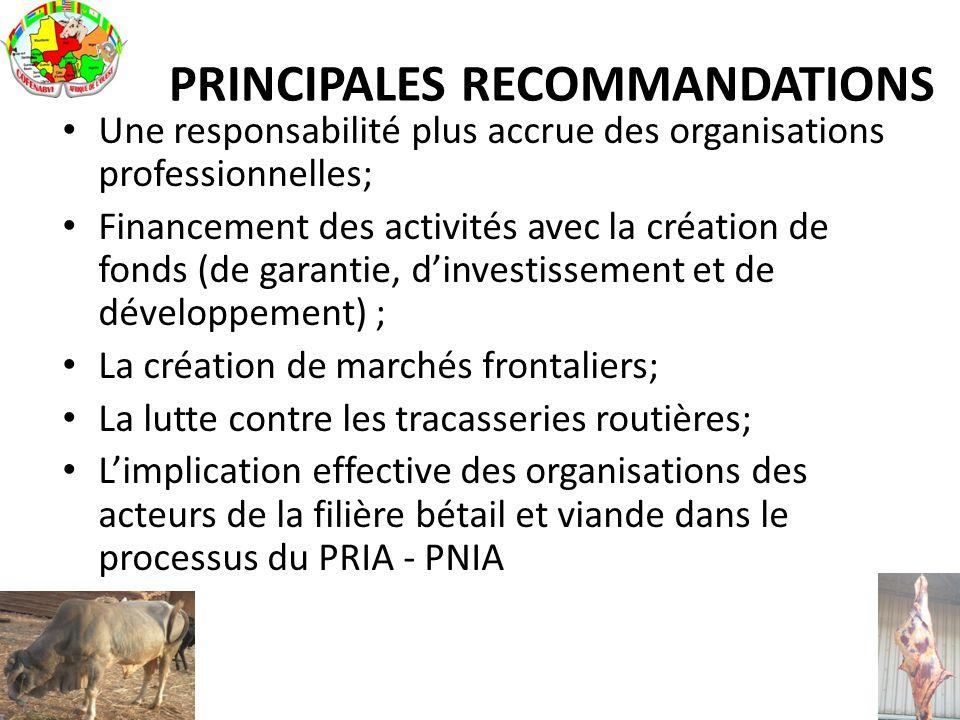 PRINCIPALES RECOMMANDATIONS Une responsabilité plus accrue des organisations professionnelles; Financement des activités avec la création de fonds (de
