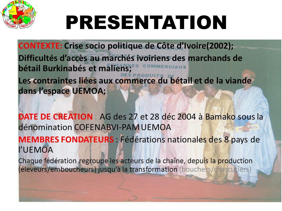 CONTEXTE: Crise socio politique de Côte d'Ivoire(2002); Difficultés d'accès au marchés ivoiriens des marchands de bétail Burkinabés et maliens; Les co