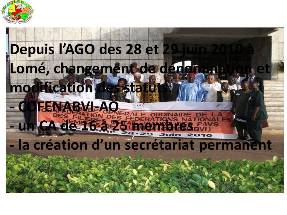 Depuis l'AGO des 28 et 29 juin 2010 à Lomé, changement de dénomination et modification des statuts: - COFENABVI-AO - un CA de 16 à 25 membres - la cré