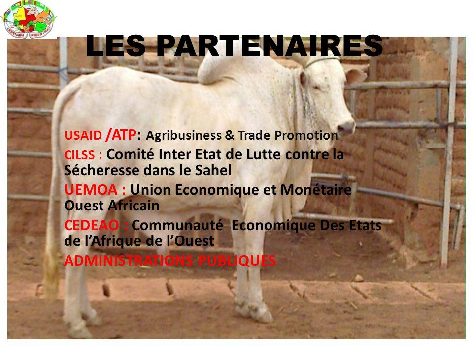 USAID /ATP: Agribusiness & Trade Promotion CILSS : Comité Inter Etat de Lutte contre la Sécheresse dans le Sahel UEMOA : Union Economique et Monétaire