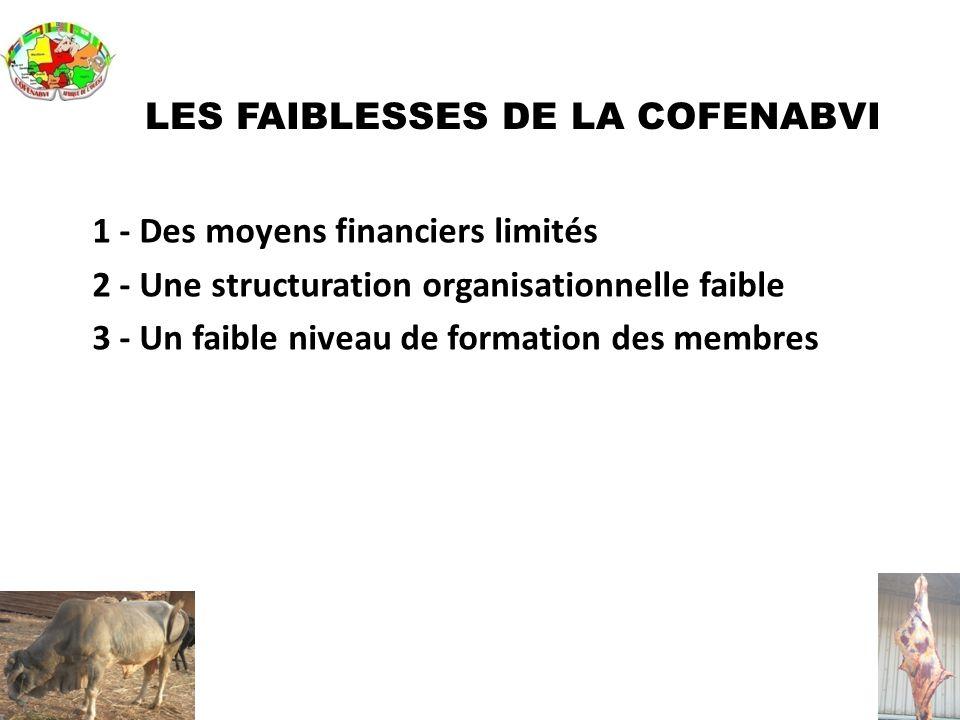 LES FAIBLESSES DE LA COFENABVI 1 - Des moyens financiers limités 2 - Une structuration organisationnelle faible 3 - Un faible niveau de formation des