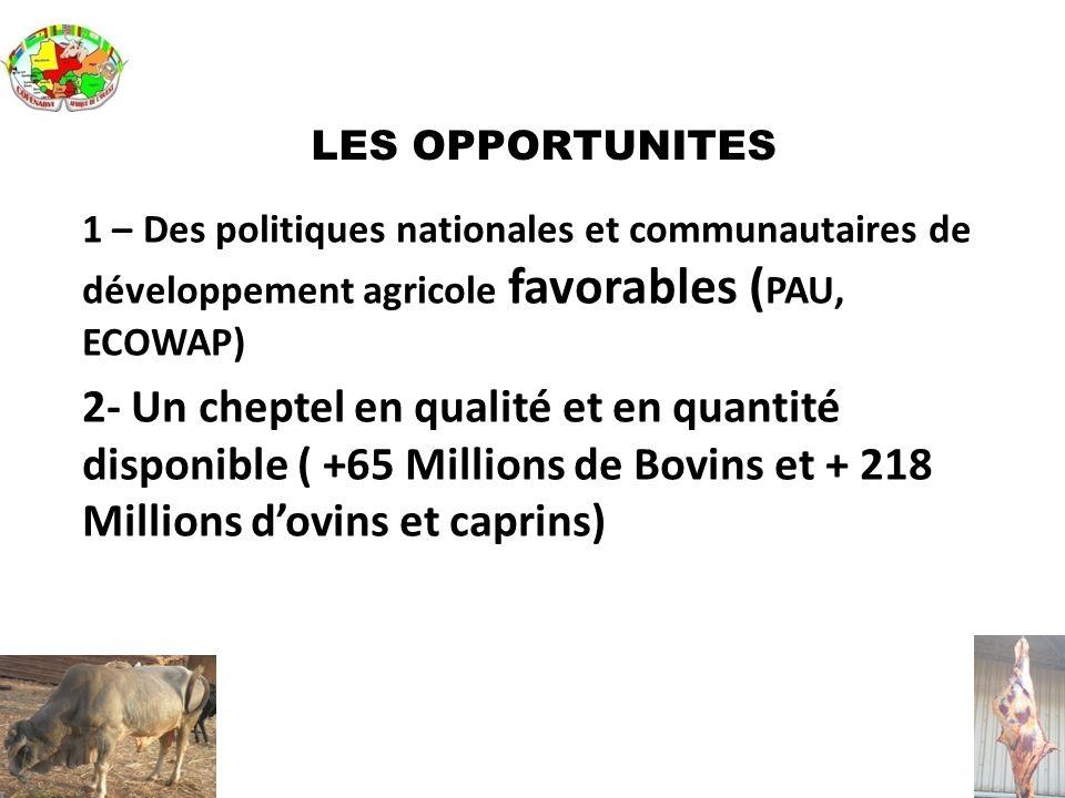 LES OPPORTUNITES 1 – Des politiques nationales et communautaires de développement agricole favorables ( PAU, ECOWAP) 2- Un cheptel en qualité et en qu