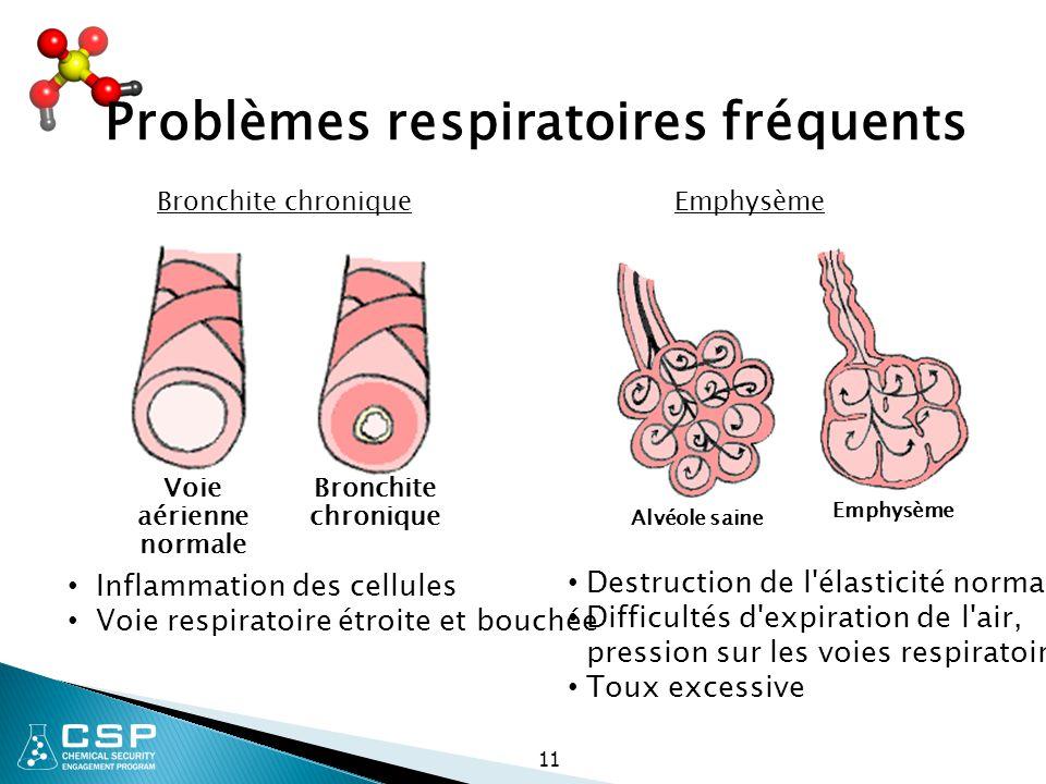 Voie aérienne normale Bronchite chronique Alvéole saine Emphysème 11 Bronchite chroniqueEmphysème Inflammation des cellules Voie respiratoire étroite
