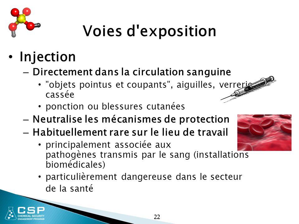 22 Voies d'exposition Injection – Directement dans la circulation sanguine