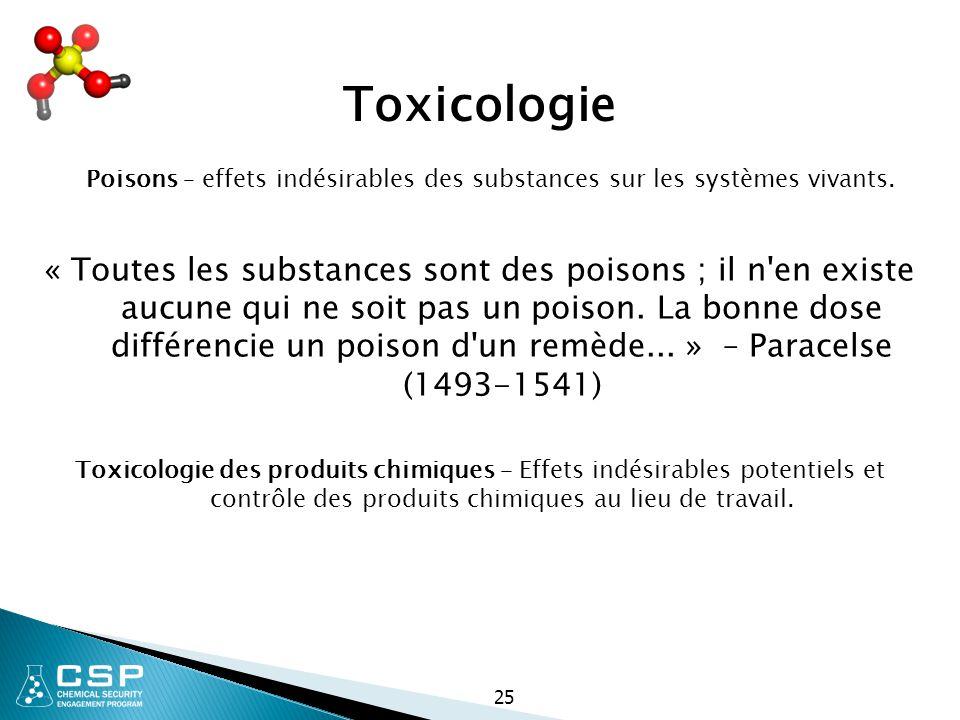 25 Toxicologie Poisons – effets indésirables des substances sur les systèmes vivants. « Toutes les substances sont des poisons ; il n'en existe aucune