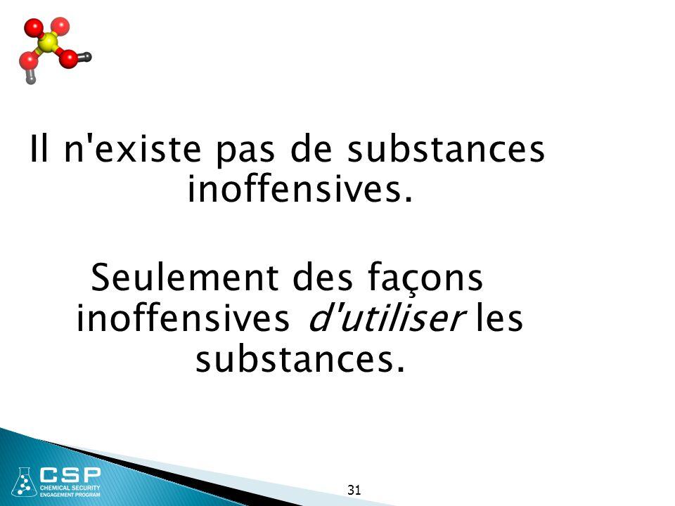 31 Il n'existe pas de substances inoffensives. Seulement des façons inoffensives d'utiliser les substances.