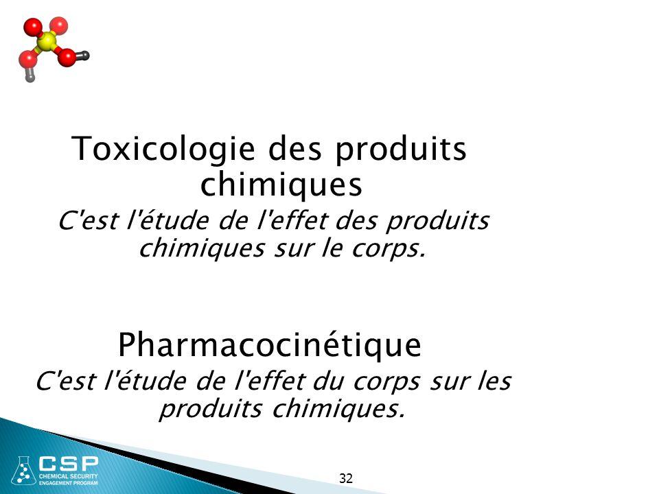 32 Toxicologie des produits chimiques C'est l'étude de l'effet des produits chimiques sur le corps. Pharmacocinétique C'est l'étude de l'effet du corp