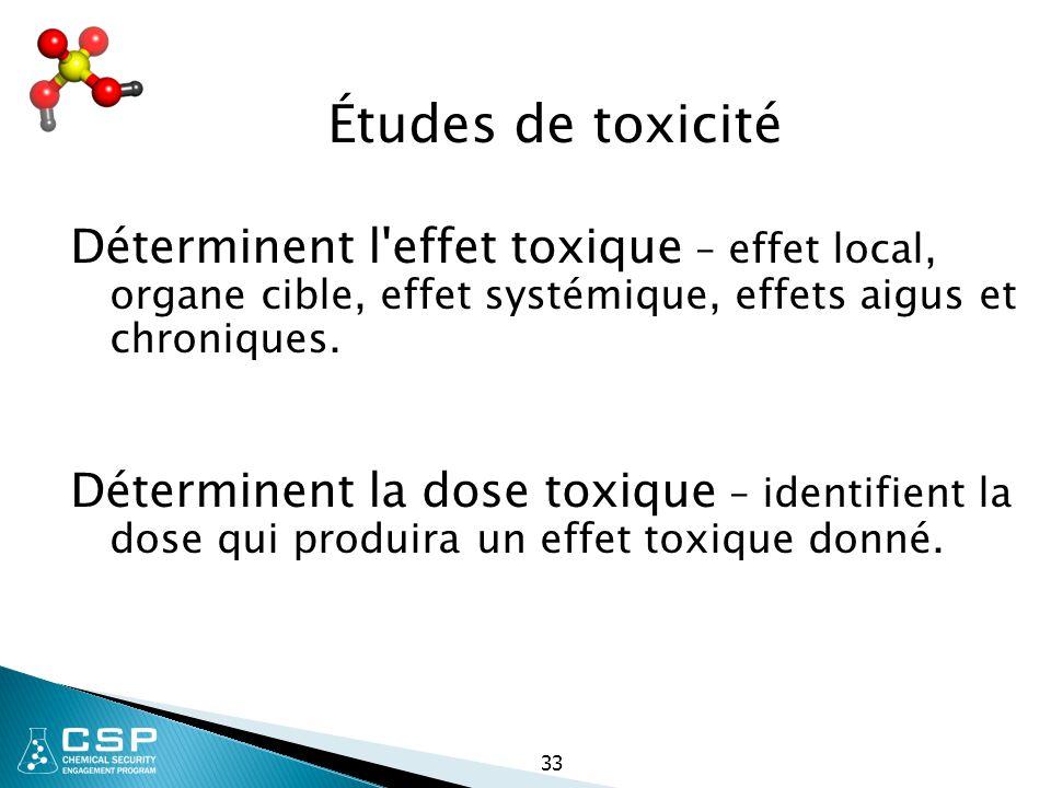 33 Études de toxicité Déterminent l'effet toxique – effet local, organe cible, effet systémique, effets aigus et chroniques. Déterminent la dose toxiq