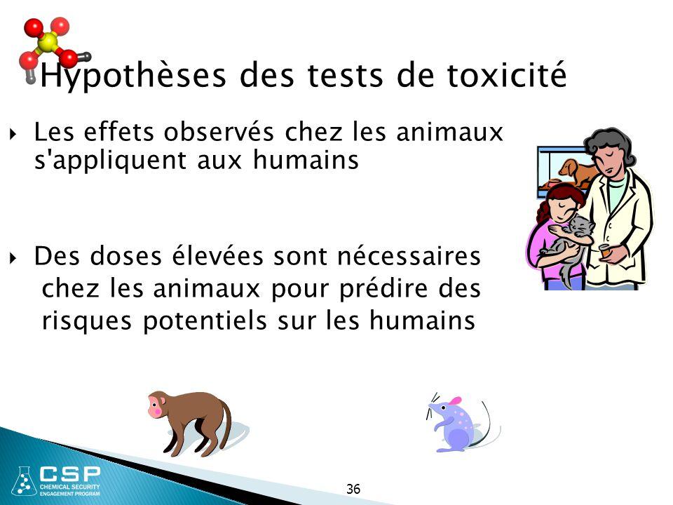 36 Hypothèses des tests de toxicité  Les effets observés chez les animaux s'appliquent aux humains  Des doses élevées sont nécessaires chez les anim