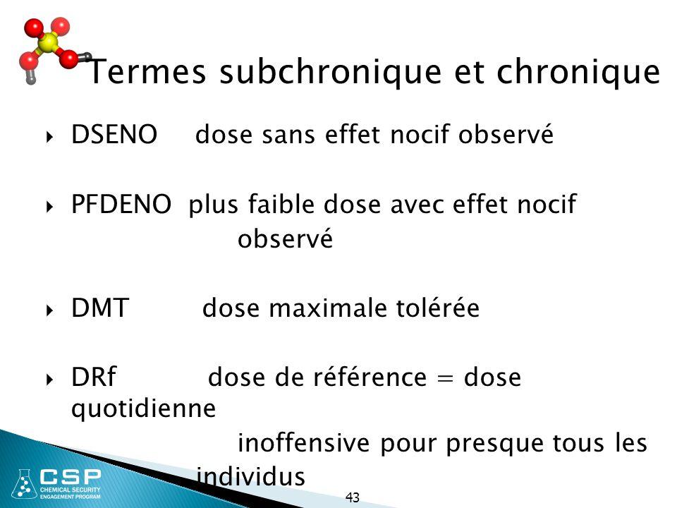 43 Termes subchronique et chronique  DSENO dose sans effet nocif observé  PFDENO plus faible dose avec effet nocif observé  DMT dose maximale tolér