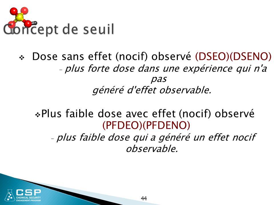 44 Concept de seuil  Dose sans effet (nocif) observé (DSEO)(DSENO) – plus forte dose dans une expérience qui n'a pas généré d'effet observable.  Plu