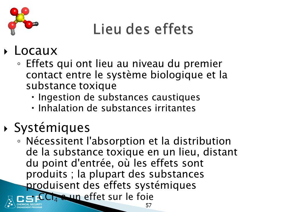 57 Lieu des effets  Locaux ◦ Effets qui ont lieu au niveau du premier contact entre le système biologique et la substance toxique  Ingestion de subs