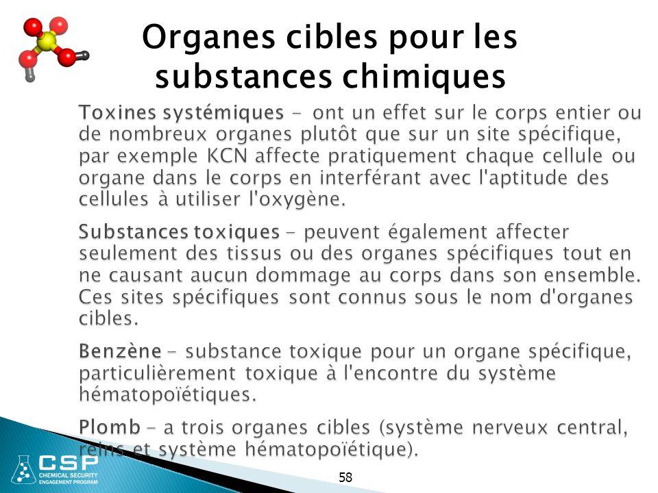 58 Toxines systémiques - ont un effet sur le corps entier ou de nombreux organes plutôt que sur un site spécifique, par exemple KCN affecte pratiqueme