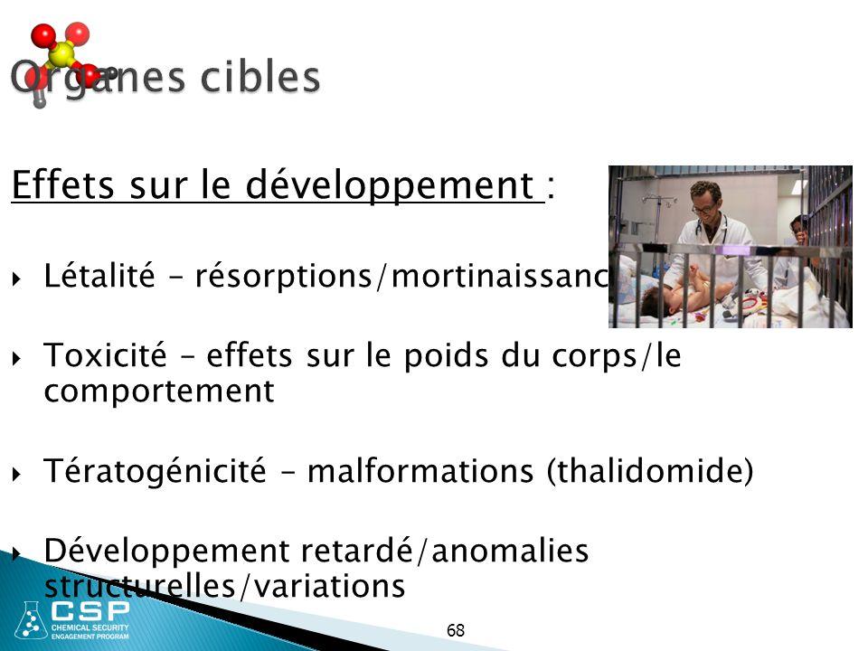 68 Organes cibles Effets sur le développement :  Létalité – résorptions/mortinaissances  Toxicité – effets sur le poids du corps/le comportement  T