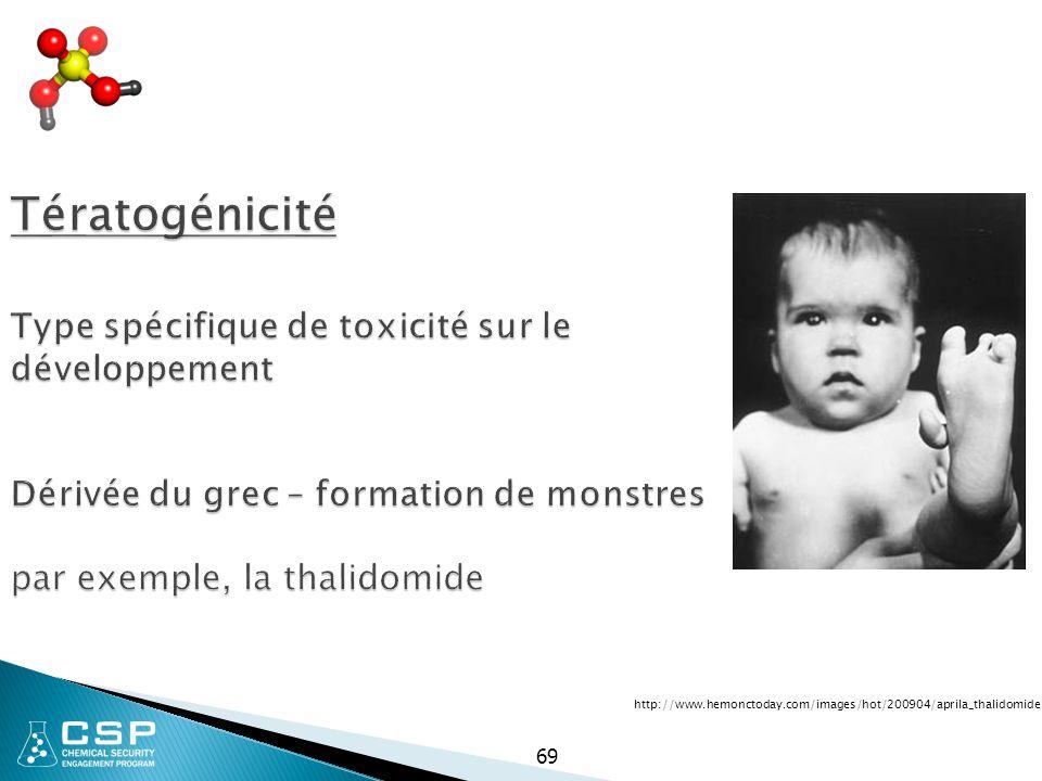 69 Tératogénicité Type spécifique de toxicité sur le développement Dérivée du grec – formation de monstres par exemple, la thalidomide http://www.hemo