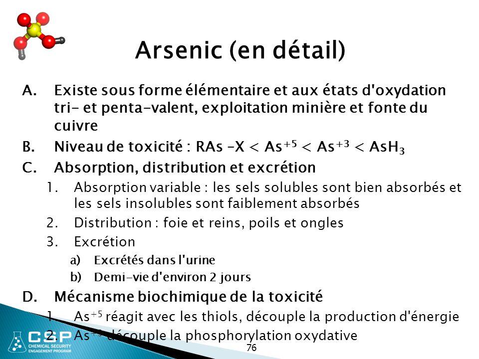 76 Arsenic (en détail) A.Existe sous forme élémentaire et aux états d'oxydation tri- et penta-valent, exploitation minière et fonte du cuivre B.Niveau