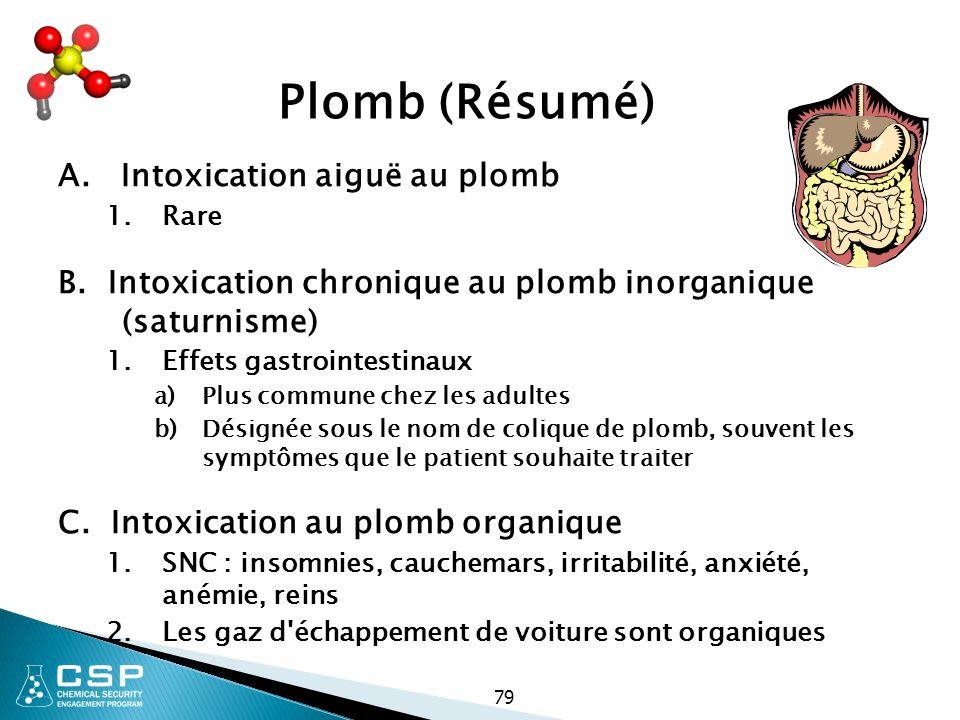 79 Plomb (Résumé) A. Intoxication aiguë au plomb 1.Rare B. Intoxication chronique au plomb inorganique (saturnisme) 1.Effets gastrointestinaux a)Plus