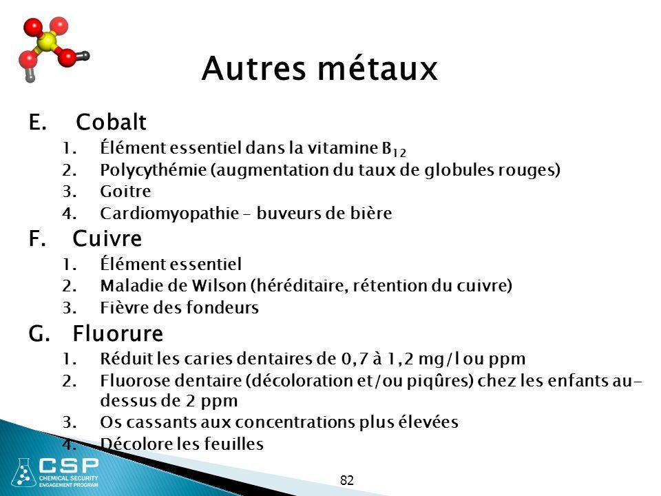 82 Autres métaux E. Cobalt 1.Élément essentiel dans la vitamine B 12 2.Polycythémie (augmentation du taux de globules rouges) 3.Goitre 4.Cardiomyopath