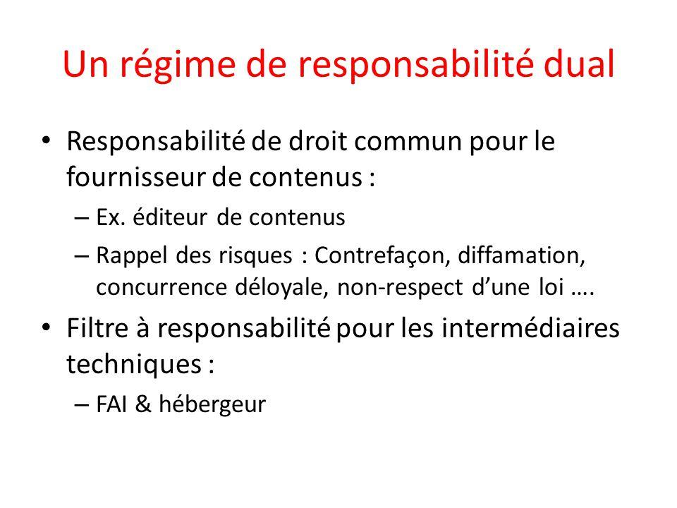 Un régime de responsabilité dual Responsabilité de droit commun pour le fournisseur de contenus : – Ex. éditeur de contenus – Rappel des risques : Con