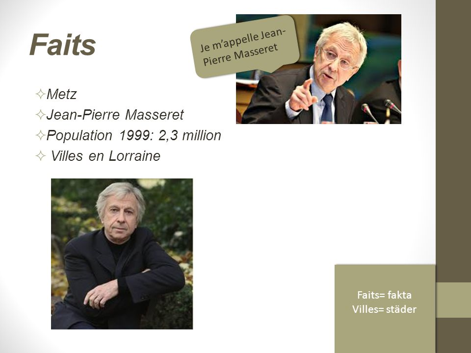 Faits  Metz  Jean-Pierre Masseret  Population 1999: 2,3 million  Villes en Lorraine Je m'appelle Jean- Pierre Masseret Faits= fakta Villes= städer