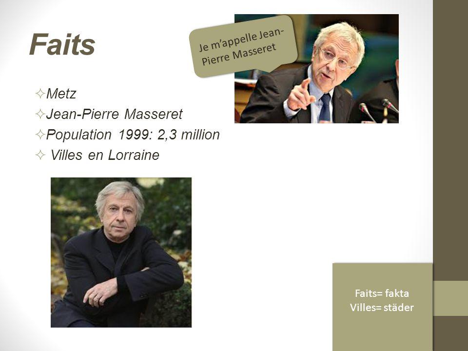 Faits  Metz  Jean-Pierre Masseret  Population 1999: 2,3 million  Villes en Lorraine Je m'appelle Jean- Pierre Masseret Faits= fakta Villes= städer Faits= fakta Villes= städer