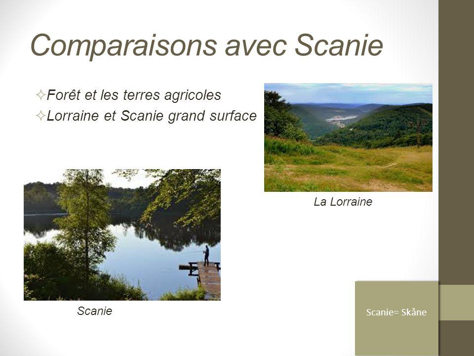 Comparaisons avec Scanie  Forêt et les terres agricoles  Lorraine et Scanie grand surface Scanie= Skåne Scanie La Lorraine