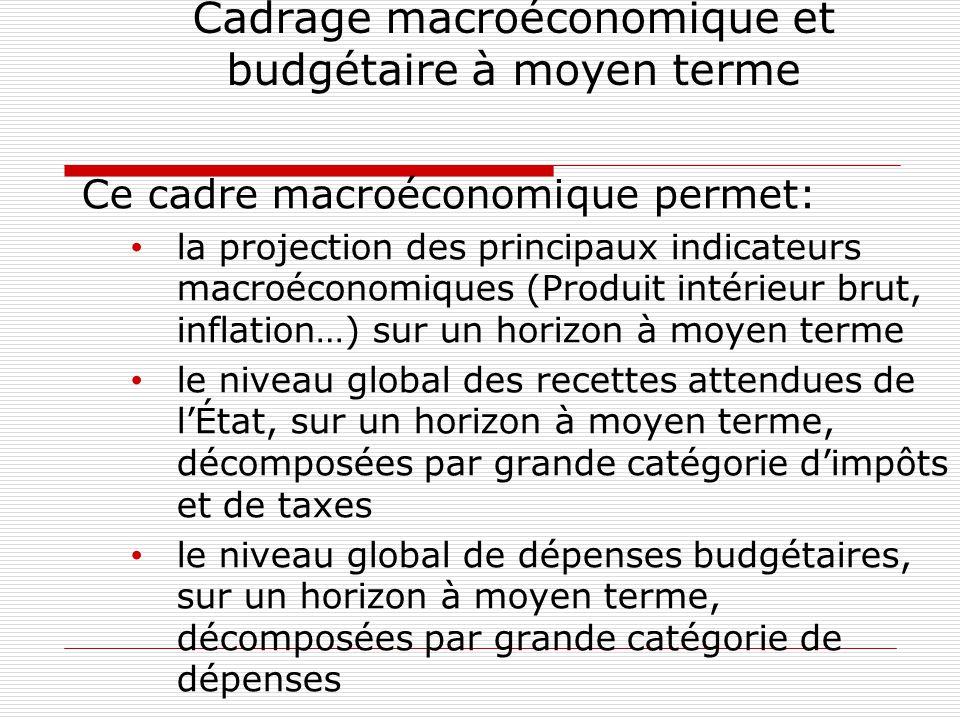 Cadrage macroéconomique et budgétaire à moyen terme Ce cadre macroéconomique permet: la projection des principaux indicateurs macroéconomiques (Produit intérieur brut, inflation…) sur un horizon à moyen terme le niveau global des recettes attendues de l'État, sur un horizon à moyen terme, décomposées par grande catégorie d'impôts et de taxes le niveau global de dépenses budgétaires, sur un horizon à moyen terme, décomposées par grande catégorie de dépenses