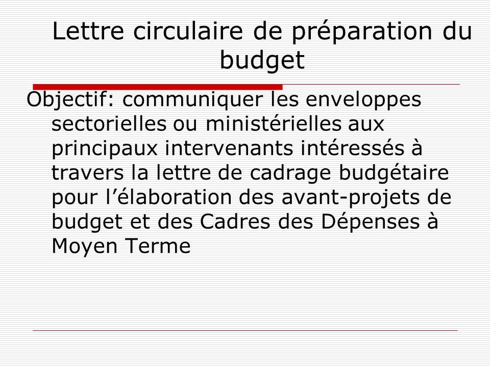 Lettre circulaire de préparation du budget Objectif: communiquer les enveloppes sectorielles ou ministérielles aux principaux intervenants intéressés à travers la lettre de cadrage budgétaire pour l'élaboration des avant-projets de budget et des Cadres des Dépenses à Moyen Terme