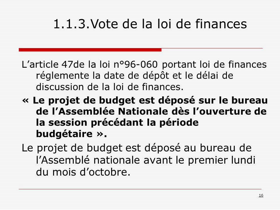 L'article 47de la loi n°96-060 portant loi de finances réglemente la date de dépôt et le délai de discussion de la loi de finances.
