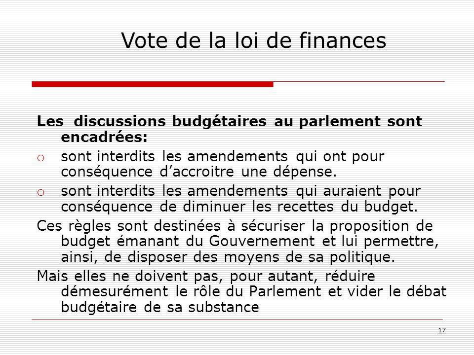Les discussions budgétaires au parlement sont encadrées: o sont interdits les amendements qui ont pour conséquence d'accroitre une dépense.