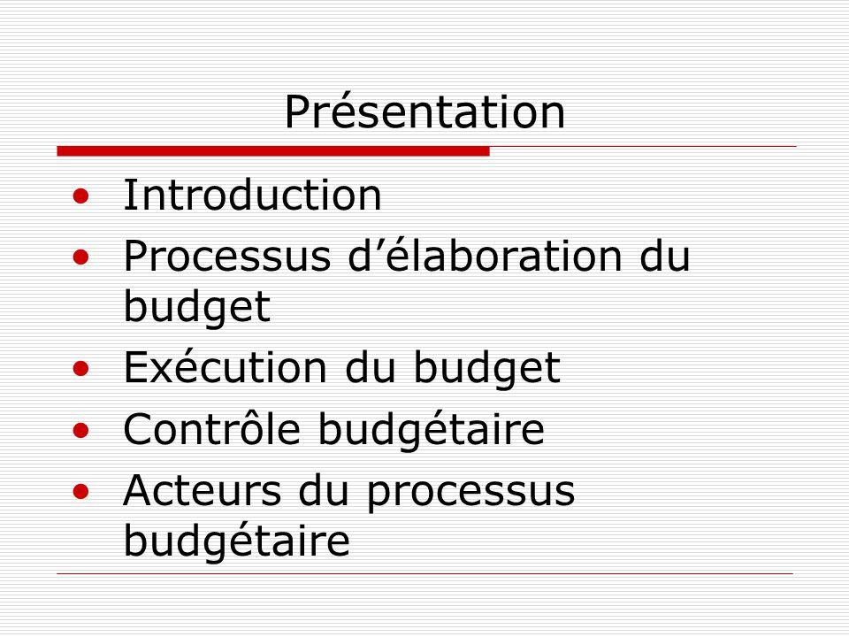 Présentation Introduction Processus d'élaboration du budget Exécution du budget Contrôle budgétaire Acteurs du processus budgétaire
