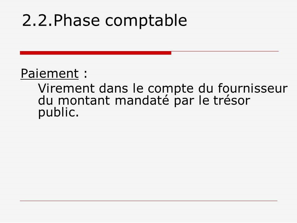 2.2.Phase comptable Paiement : Virement dans le compte du fournisseur du montant mandaté par le trésor public.