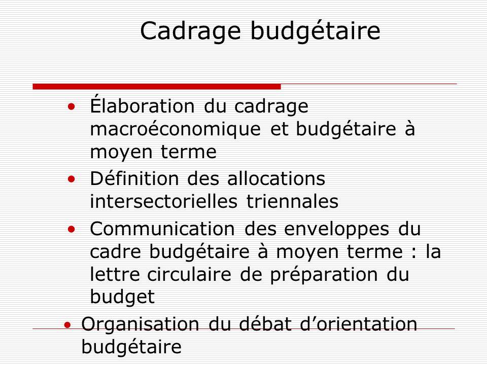 Cadrage budgétaire Élaboration du cadrage macroéconomique et budgétaire à moyen terme Définition des allocations intersectorielles triennales Communication des enveloppes du cadre budgétaire à moyen terme : la lettre circulaire de préparation du budget Organisation du débat d'orientation budgétaire